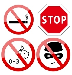 Set of four restricted access denied signs vector