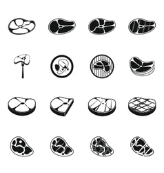Steak icons set simple style vector