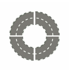 Asphalted road circle icon cartoon style vector