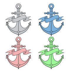 anchor with ribbon banner colored icons vector image vector image