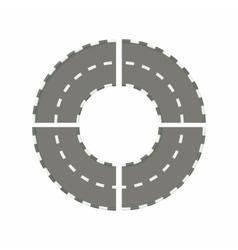 Asphalted road circle icon cartoon style vector