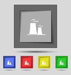 Atomic power station icon sign on original five vector