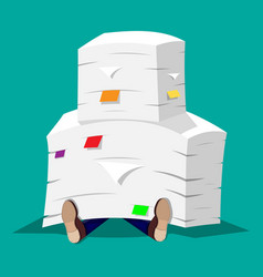 Businessman in pile of office papers vector