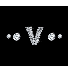 Diamond alphabetic letter V vector image