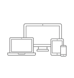 Electronic Device with Different Screen Size Icons vector image vector image