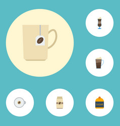 Flat icons cappuccino sweetener seed pack and vector