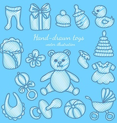 Hand-drawn Baby Icons Set vector image vector image