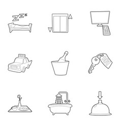 hotel icons set outline style vector image