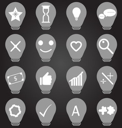 Idea symbol in light bulb shape icons vector image