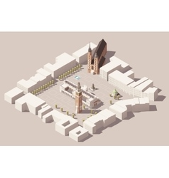 Isometric main market square of the krakow poland vector