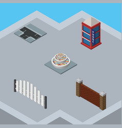 Isometric urban set of phone box crossroad vector