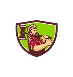 Lumberjack axe shield retro vector