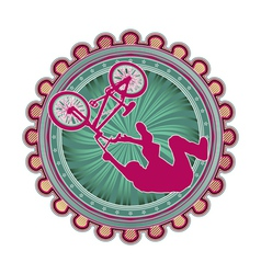 Modern abstract sport emblem design bmx cyclist vector