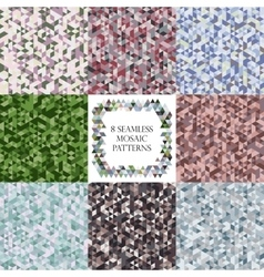 Mosaic triangle pattern set vector