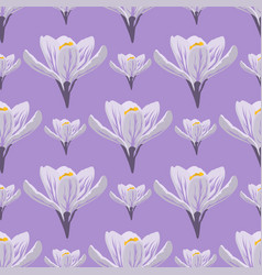 Nature spring crocus flower wreath vector