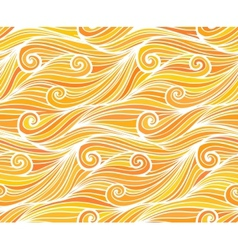 Orange curly waves seamless pattern vector image
