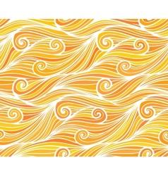Orange curly waves seamless pattern vector