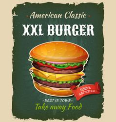 Retro fast food king size burger poster vector