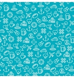 Seamless pattern with travel line icons vector