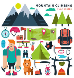 Set flat icon climbing vector