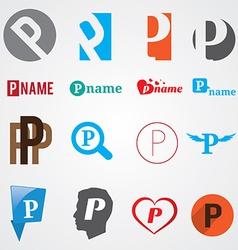 Set of alphabet symbols of letter P vector image vector image