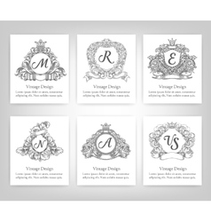 set of vintage emblems monograms vector image vector image