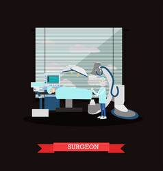 Surgeon and patient in flat vector