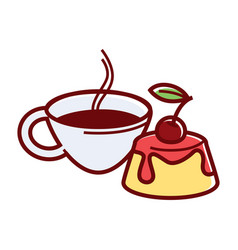 Sweet jelly cake with cherry jam and cup of tea vector