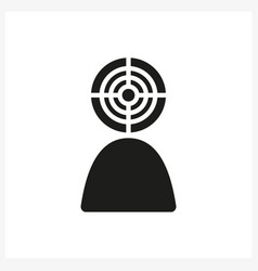 Target head icon in simple black vector