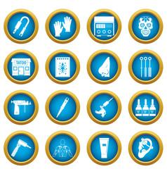 Tattoo parlor icons blue circle set vector