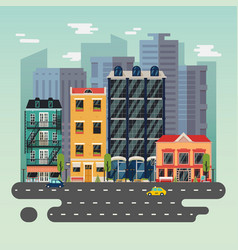 Town or city landscape with skyscrapers buildings vector
