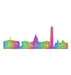 Washington skyline - multicolor line art vector image
