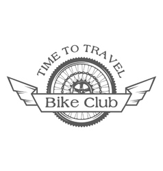 Wheel emblem on the topic of bicycles vector