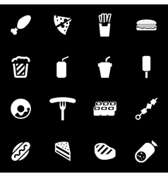 White fastfood icon set vector