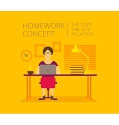 Woman freelancer home of the laptop homework vector