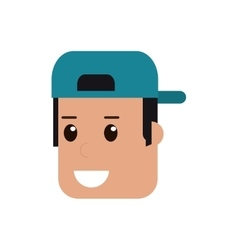 face of man with hat icon vector image