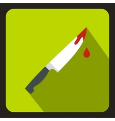 Steel knife covered with blood icon flat style vector image