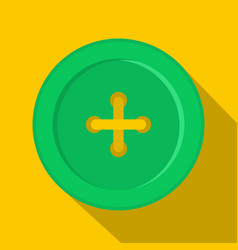 green sewing button icon flat style vector image