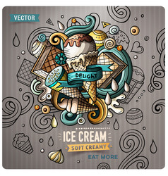 Ice cream cartoon doodle vector