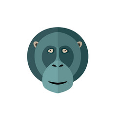 monkey head icon in flat design vector image