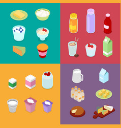 Isometric milk industry production dairy products vector