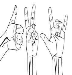 Hand symbol set vector