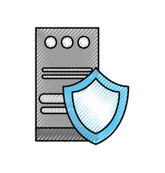 tower computer storage shield protection device vector image