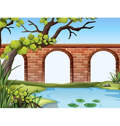A bridge and a pond vector