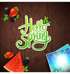 Hello spring card design vector