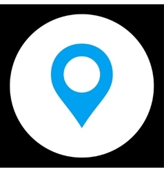 Map marker flat blue and white colors round button vector
