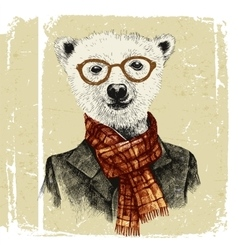 Hand drawn dressed up hipster bear in glasses vector