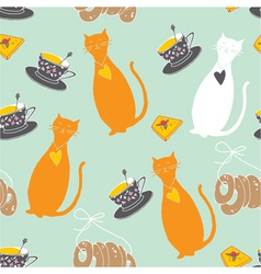 cats and tea party pattern vector image