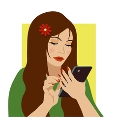 Girl with phone vector
