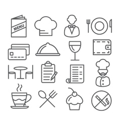 Restaurant line icons vector